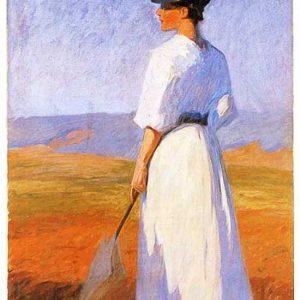 Frau In Weiß - Öl Auf Leinwand, 1900