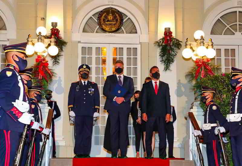 Empfang In San Salvador Durch Die Ehrengarde Des Präsidenten