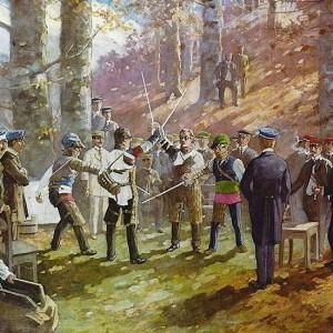 Eine Mensur Im Wald Im Gemälde Festgehalten